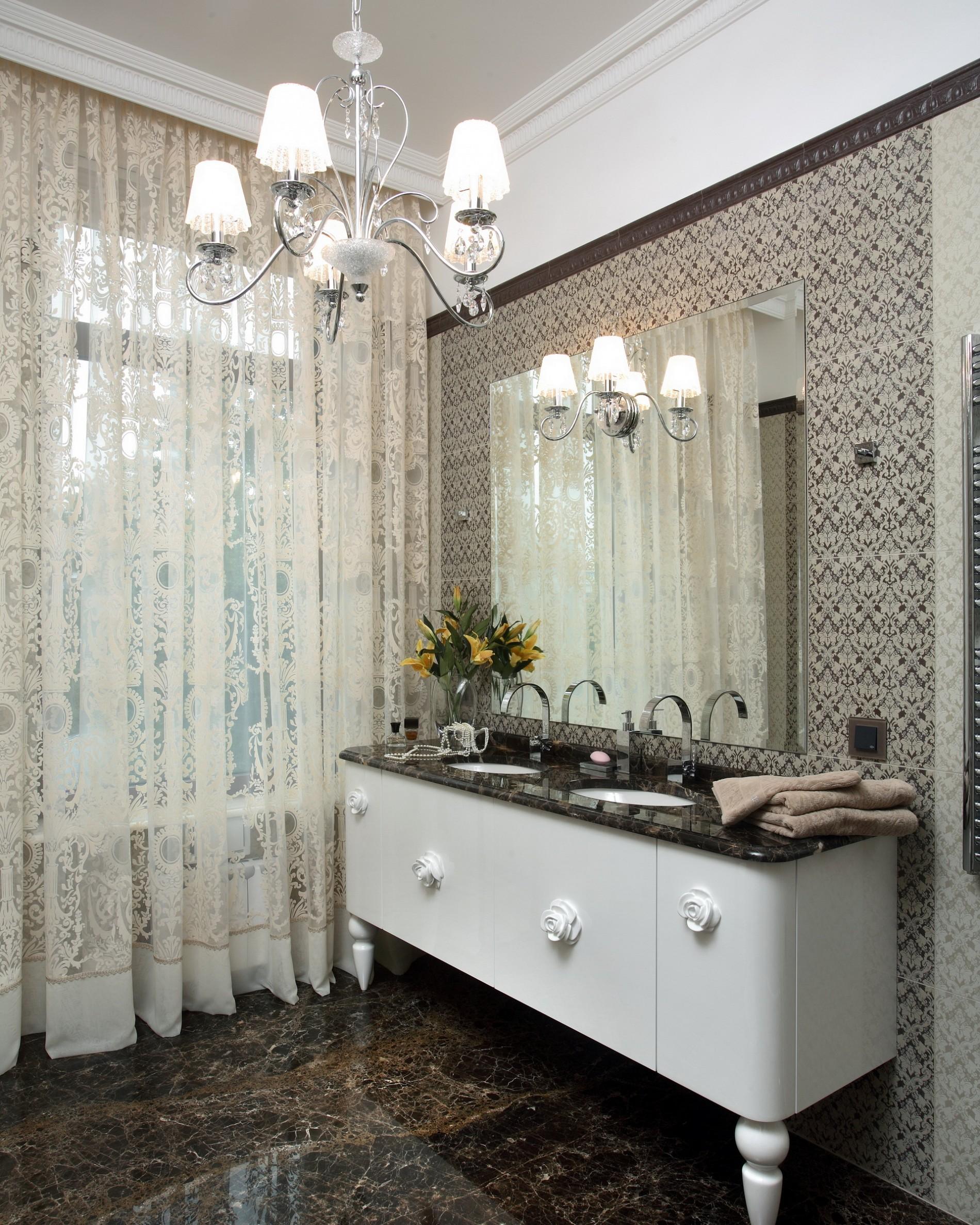 Две раковины в ванной в стиле ар деко