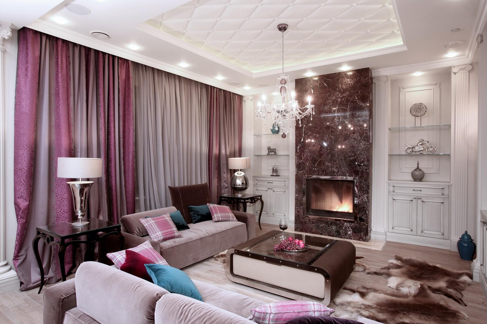 Rosso Levanto мраморный камин в интерьере гостиной в неоклассике