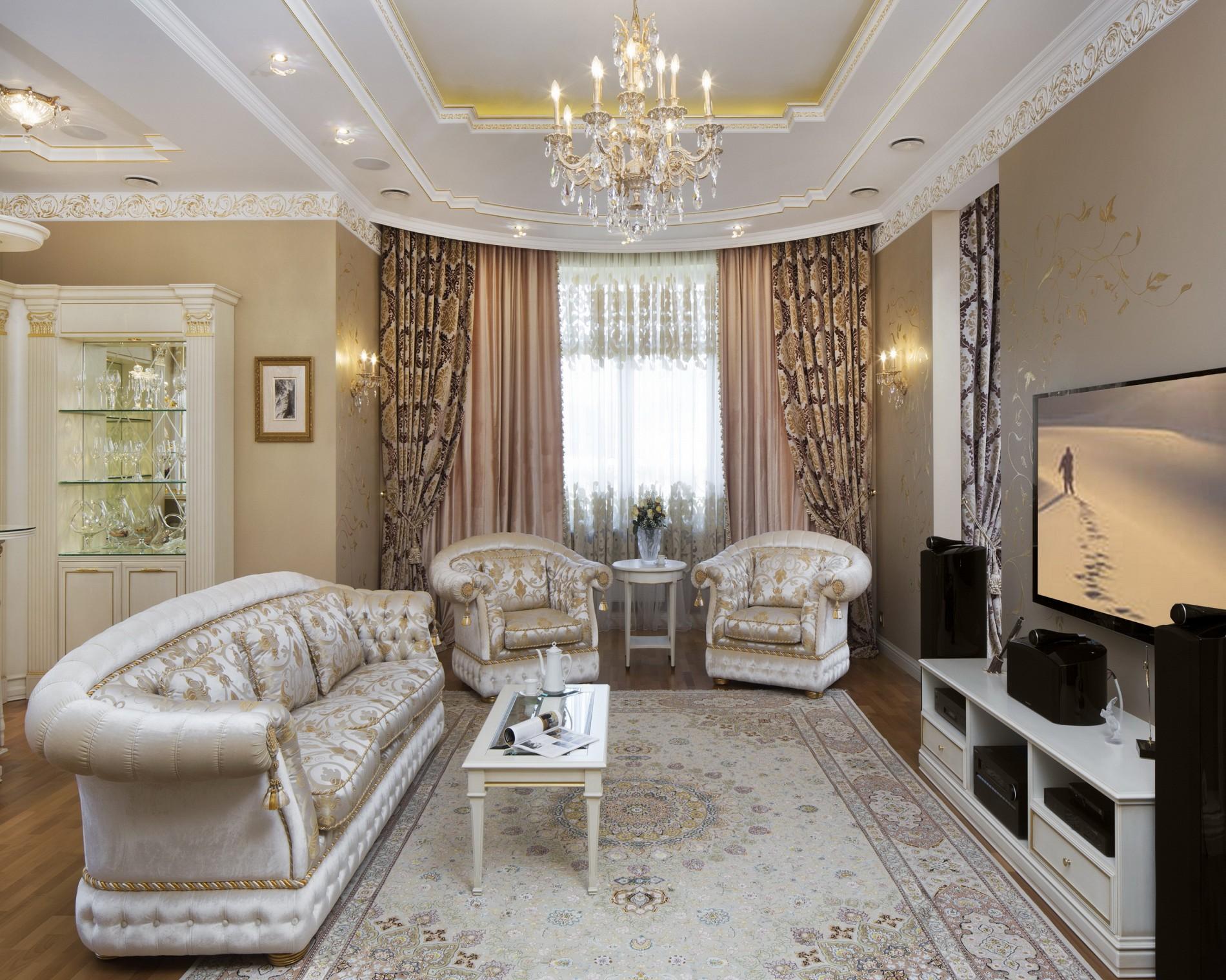 Элитный интерьер гостинойв классическом стиле